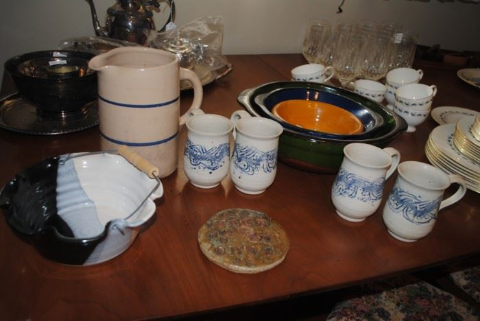Left to right   Down Home Pottery Seagrove, NC basket, Stoneware pitcher, Bob Owens Pottery mugs, 3 pc French bowl set