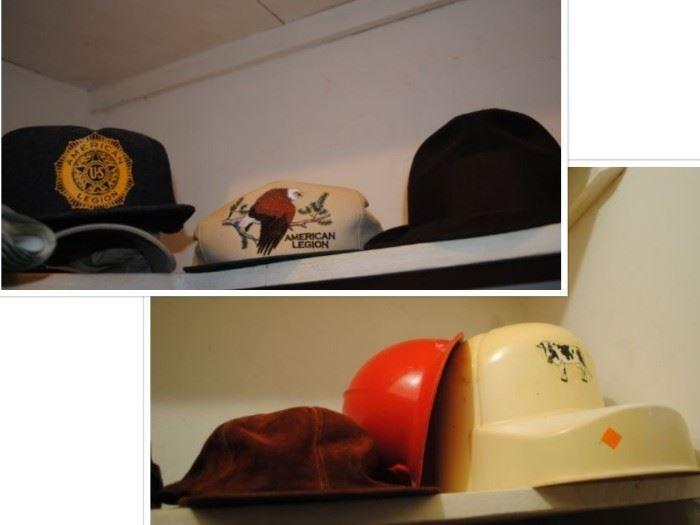 Vintage American Legion hats, Resistol hat and LLBean Suede hat