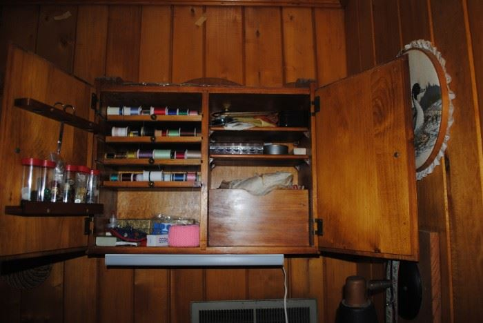 Hanging wood sewing cabinet with contents - Wonderful piece!!