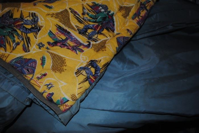 Vintage child's sleeping bag with wonderful flannel lining - sportsman's theme