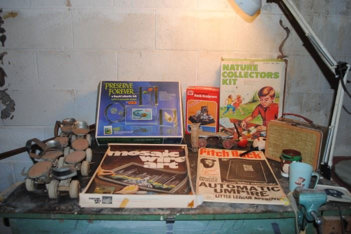 Vintage roller skates, Thermos tweed lunch box, Pitch Back Automatic Umpire with Hank Aaron from the ATL Braves, Yogi Bear cup, unused  kits - all from the 60s