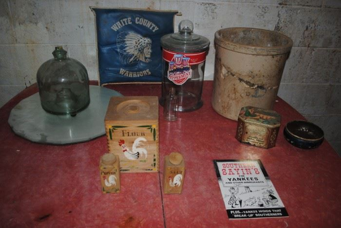 #3 Crock, wood Rooster flour canister and salt and pepper, dresser mirro, vintage Warriors stadium cushion. large glass peppermint candy canister and more
