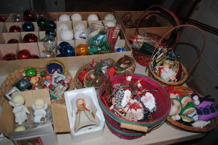 Many, many Christmas decorations - lots homemade