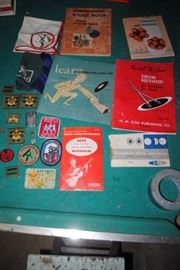 Vintage music and work books, 1960s Boy Scouts items