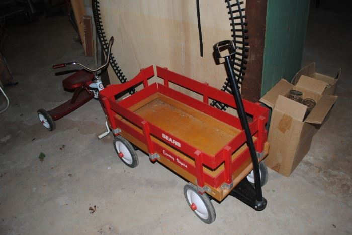 Vintage Sears Country Squire wagon and Roadmaster tricycle