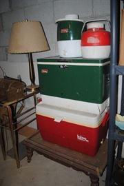 Vintage Coleman cooler and Igloo