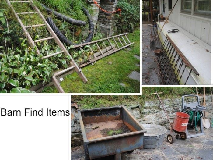Wood ladders, Tractor Cart, Galvanized Tub, Spreader, hose and reel. yard tools, Vintage metal porch rails