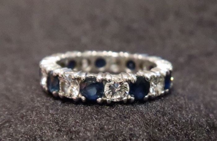 The Platinum Diamond and Sapphire Eternity Ring is Available for Pre-Sale by appointment  - please contact us if you are interested!  We have posted a photo of the recent APPRAISAL.  Selling for $3,200.00 + Tax - CASH