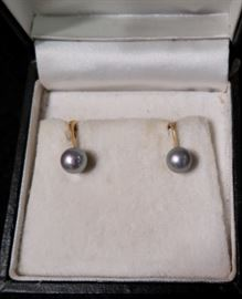 Black Pearl Clip Marked 18k - 3.8 grams - Airbijoux