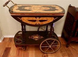 Italian Marquestry Inlaid Tea Cart