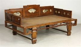 19C CHINESE DAYBED WITH MARBLE INSETS