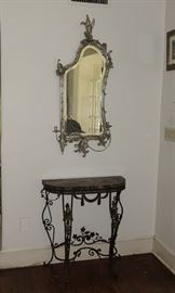 RARE SILVER LEAF WOOD SWAN MIRROR WITH ATTACHED CANDLEABRA