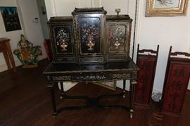 19C DUCALE FACTORY ITALIAN WOOD AND STONE DESK