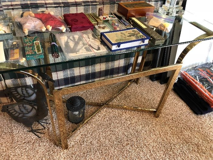 Glass and Brass Console Table