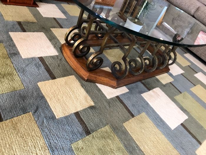 Crazy Cool Brass and glass coffee table with Geometric Rug