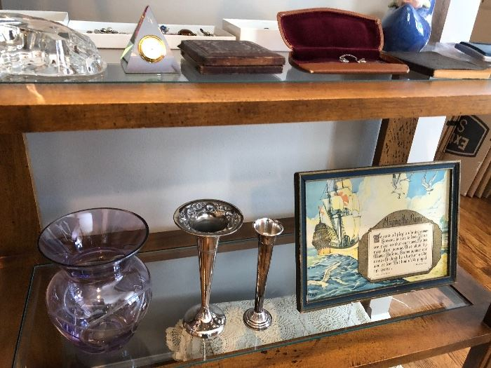 Shelf not for sale but antique silver/silverplate vases are along with other vintage and antique finds
