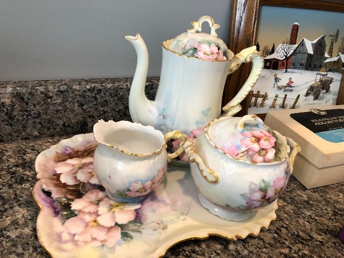 Tea set with tray, creamer and sugar signed M.E. dated 1901 This floral pink tea service is perfect for holiday dessert service.