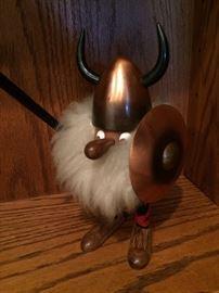 Scandinavian Wooden Gonk - Viking with shield - Modernist Danish Teak Folk Art -
