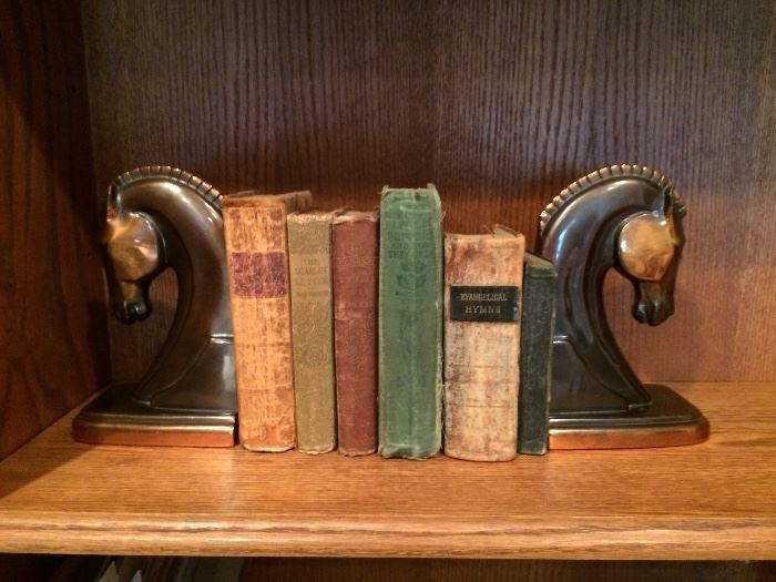 Mid Century Horse Book Ends and Antique books. Great for staging