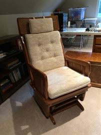 Glider Rocker made of wood great for grandma's rocking room or for new mom's nursery