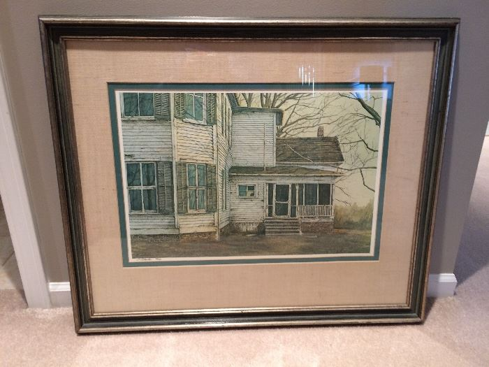 Lithograph of an old farm house, signed S. Sebastian 93/350