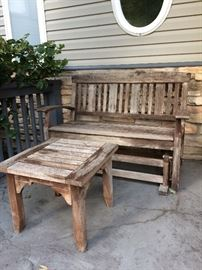 Teak Weathered Outdoor love seat Glider with table