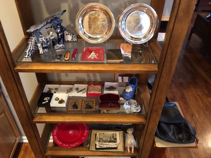 Sterling Collector plates, Delft, Jewelry and more, shelf not availabe