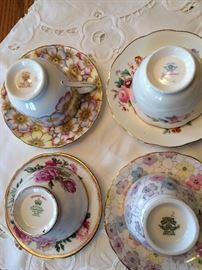 Tea cup collection Victoria C & E Annette, coal port Junetime, Tuscan, Royal Standard Orleans,