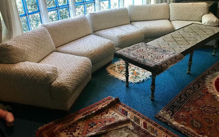 Milo Baughman Windsor sectional and one of several tile topped tables available