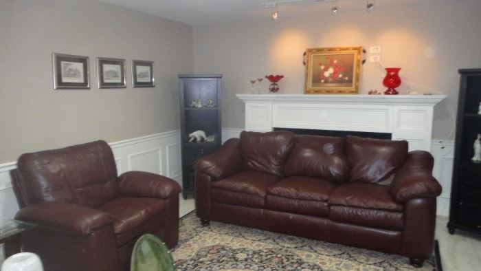 Leather Sofa, Leather Chair, excellent condition