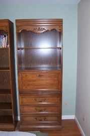 2 Matching Shelf Units- one with drop front