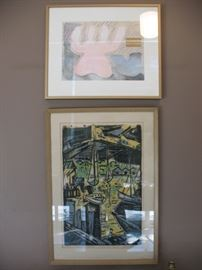 "Upper work by Sally Brown; lower, signed woodblock print titled ""Pier 7"""