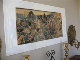 Japanese woodblock print:  Triptych