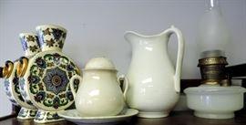 China Vases, Creamware & Milk Glass Oil Lamp