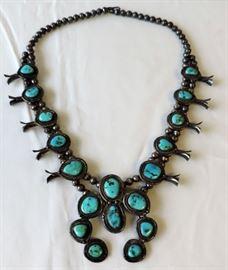 Vintage Squash Blossom Necklace, Signed JCH, Walker River Indian Reservation, Tonopah, Nevada