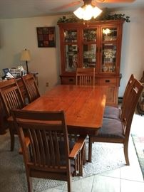 Artisan Oak Dining Room Set.  6 Chairs, table with leaf, hutch and buffet.  Matching coffee & end table also available!