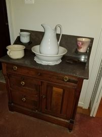 marble top washstand and jug and bowl set