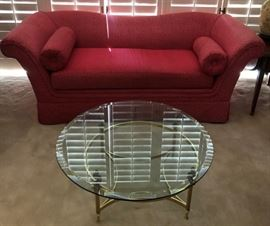 Curved Arm Sofa, Brass and Glass Coffee Table