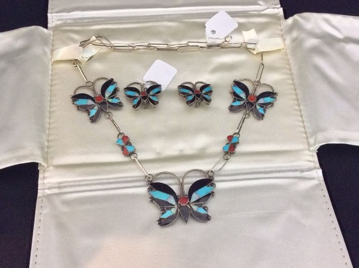Zuni Inlay Turquoise, Onyx, and Coral Sterling Necklace and Earrings.