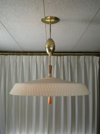 Lightolier ceiling light.  adjustable height cord. One crack in the shade, but very good condition.