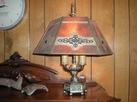Mica shade table lamp, antique, and working.