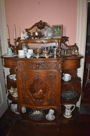 Gorgeous 1800's Etagere Ornate/Burled/Carved/Inlaid Awesome!