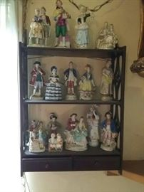 16 Figurines and Two Drawer Shelf