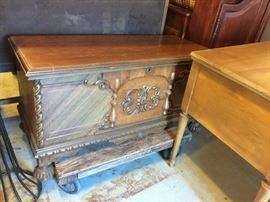 Large ornate bench chest. Very nice.  Different woods!! Sweet design intact.