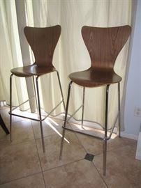 Pair contemporary bar stools