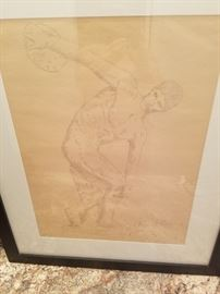 "Felix de Weldon sketch of ""The Discus Thrower"".   One of only 3 lithos ever made."