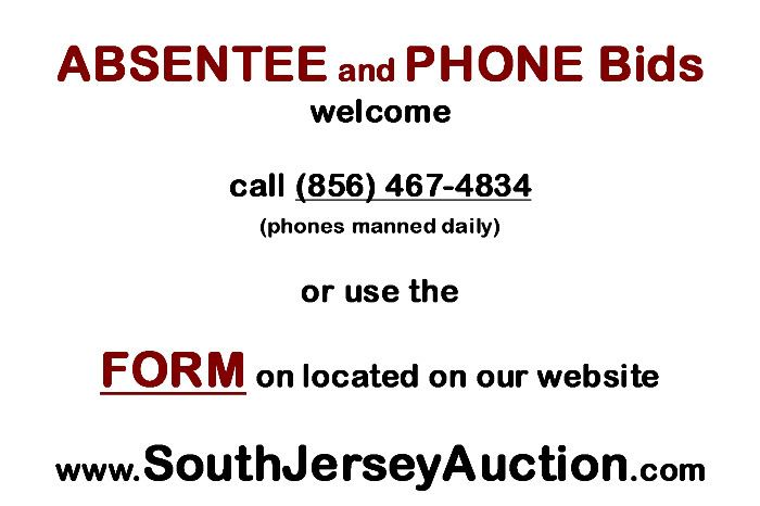 absentee or phone bids welcome