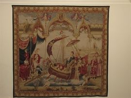 "Antique Aubusson large tapestry 9'4"" by 8' 11"" THE EMPEROR VOYAGE"