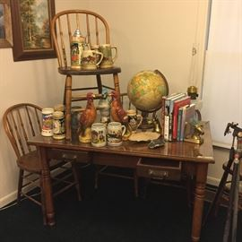 table and chairs, beer steins, etc