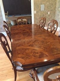 """Gorgeous Dining Room Table and  Chairs by Thomasville. From the """"Reva"""" Collection, the table can seat 10, complete with 2 leaves  and 10 chairs."""
